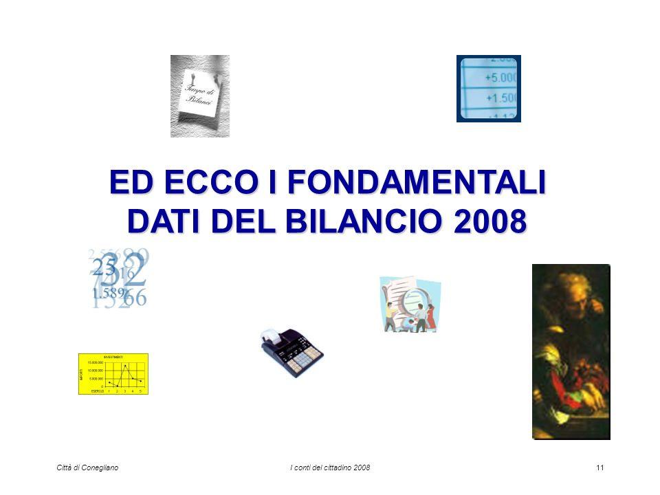 Città di ConeglianoI conti del cittadino 200811 ED ECCO I FONDAMENTALI DATI DEL BILANCIO 2008