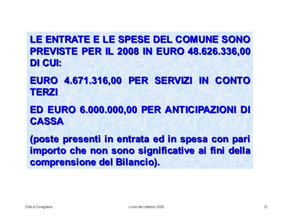 Città di ConeglianoI conti del cittadino 200812 LE ENTRATE E LE SPESE DEL COMUNE SONO PREVISTE PER IL 2008 IN EURO 48.626.336,00 DI CUI: EURO 4.671.316,00 PER SERVIZI IN CONTO TERZI ED EURO 6.000.000,00 PER ANTICIPAZIONI DI CASSA (poste presenti in entrata ed in spesa con pari importo che non sono significative ai fini della comprensione del Bilancio).