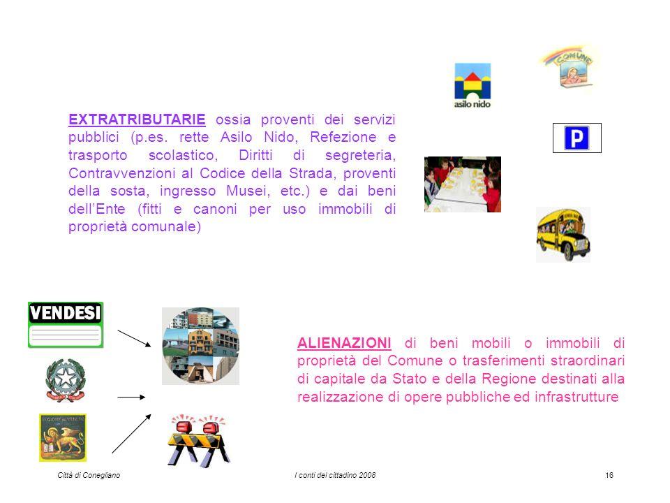 Città di ConeglianoI conti del cittadino 200816 EXTRATRIBUTARIE ossia proventi dei servizi pubblici (p.es.