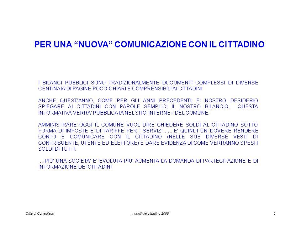 Città di ConeglianoI conti del cittadino 200843 LICI per le famiglie sulla casa di abitazione nel 2008…..