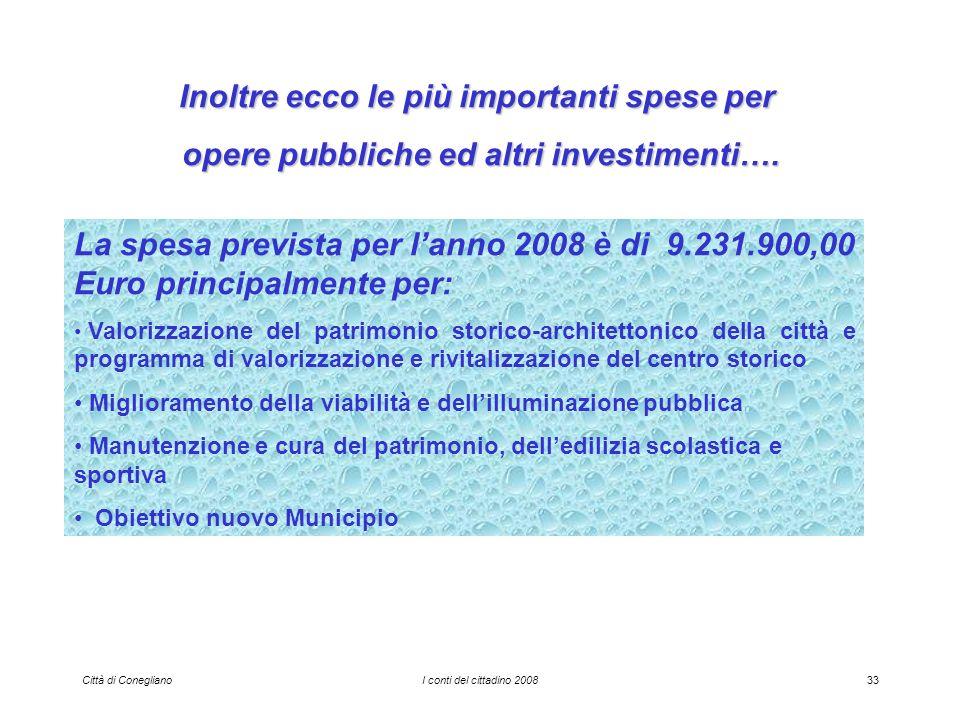 Città di ConeglianoI conti del cittadino 200833 Inoltre ecco le più importanti spese per opere pubbliche ed altri investimenti….
