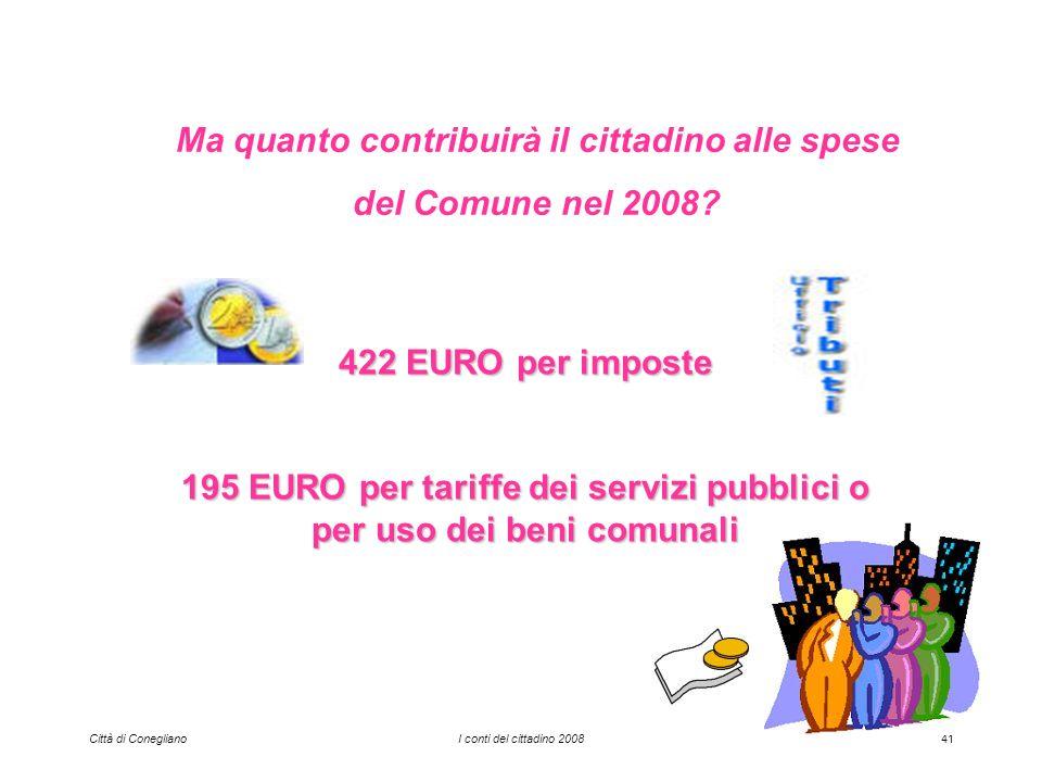 Città di ConeglianoI conti del cittadino 200841 Ma quanto contribuirà il cittadino alle spese del Comune nel 2008.