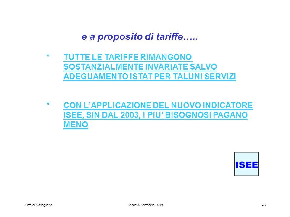 Città di ConeglianoI conti del cittadino 200845 e a proposito di tariffe…..