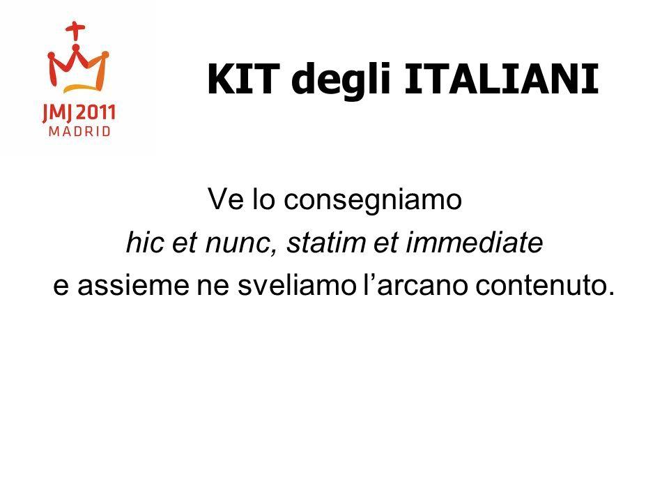 KIT degli ITALIANI Ve lo consegniamo hic et nunc, statim et immediate e assieme ne sveliamo larcano contenuto.
