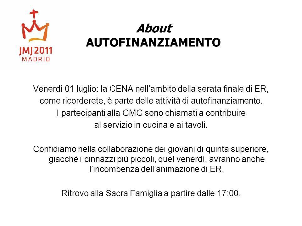 About AUTOFINANZIAMENTO Venerdì 01 luglio: la CENA nellambito della serata finale di ER, come ricorderete, è parte delle attività di autofinanziamento