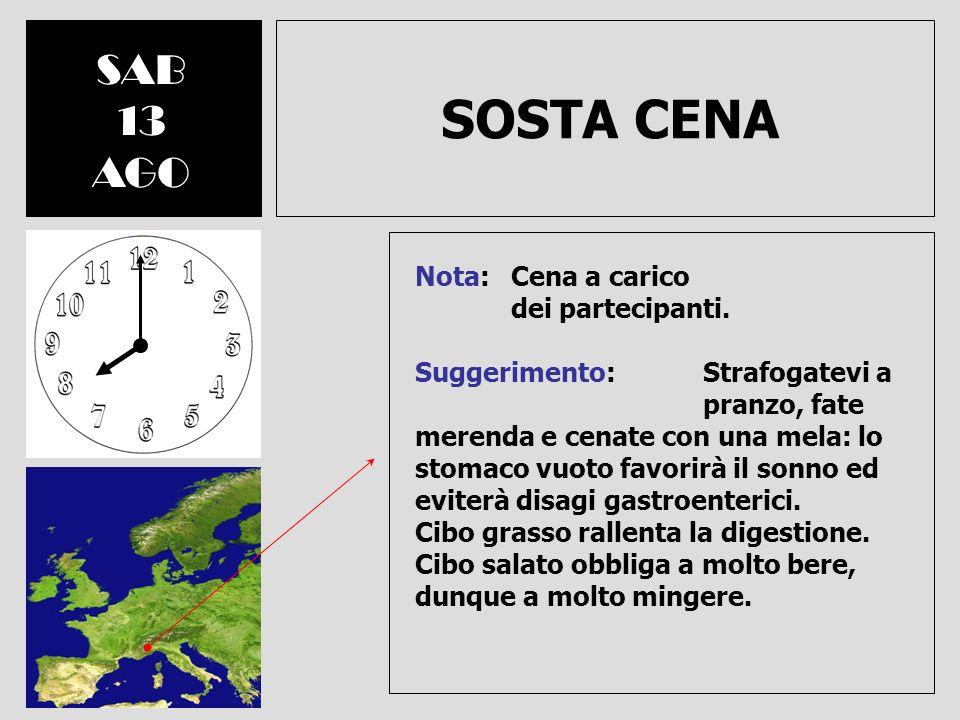 PARTENZA DOM 21 AGO Direzione Nord-Est