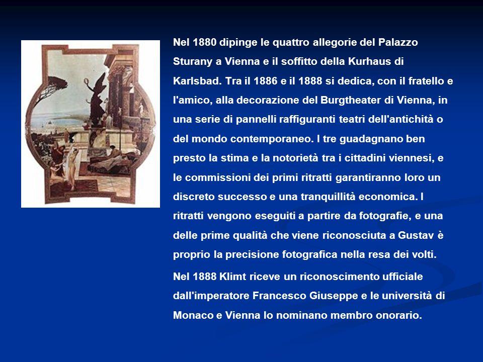 Nel 1880 dipinge le quattro allegorie del Palazzo Sturany a Vienna e il soffitto della Kurhaus di Karlsbad. Tra il 1886 e il 1888 si dedica, con il fr