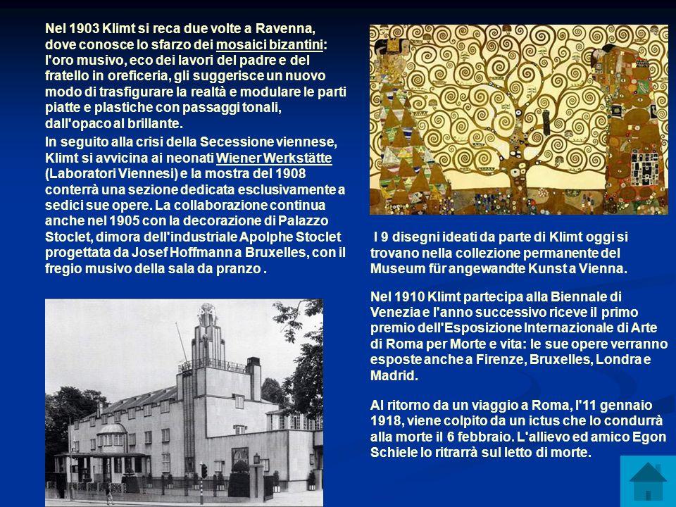 Nel 1903 Klimt si reca due volte a Ravenna, dove conosce lo sfarzo dei mosaici bizantini: l'oro musivo, eco dei lavori del padre e del fratello in ore