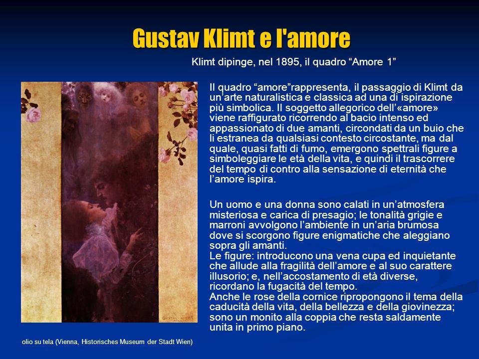 Klimt dipinge, nel 1895, il quadro Amore 1 Il quadro amorerappresenta, il passaggio di Klimt da unarte naturalistica e classica ad una di ispirazione