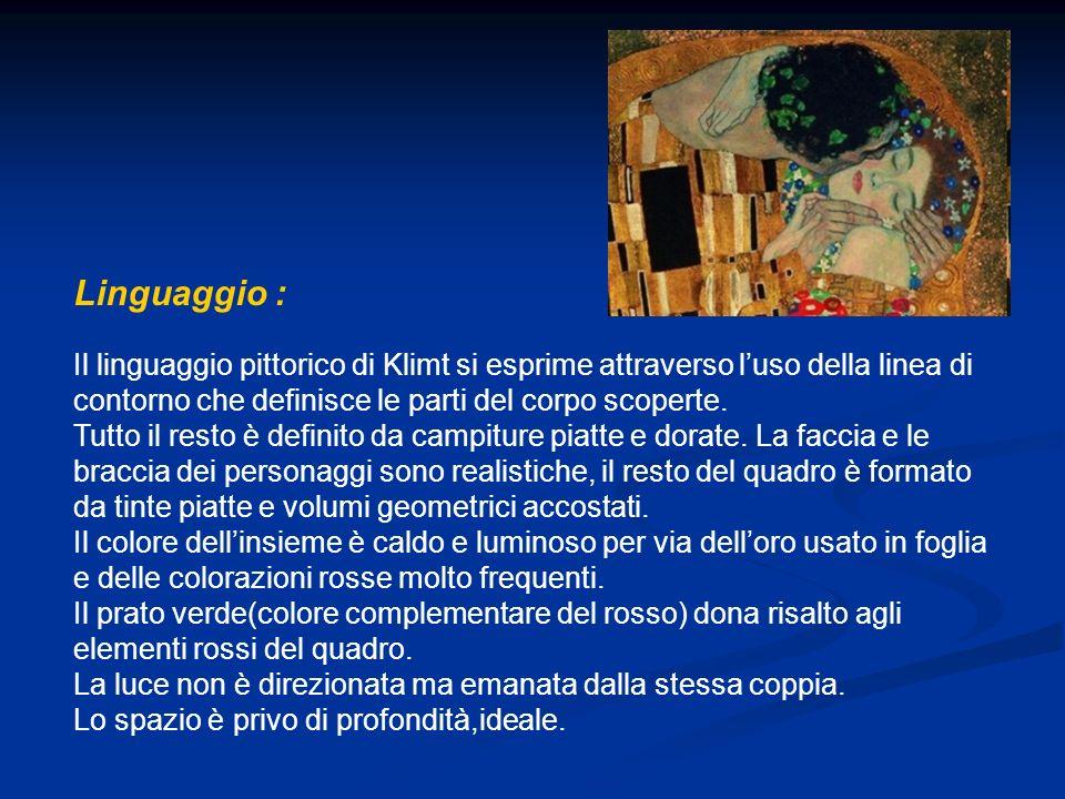 Il linguaggio pittorico di Klimt si esprime attraverso luso della linea di contorno che definisce le parti del corpo scoperte. Tutto il resto è defini