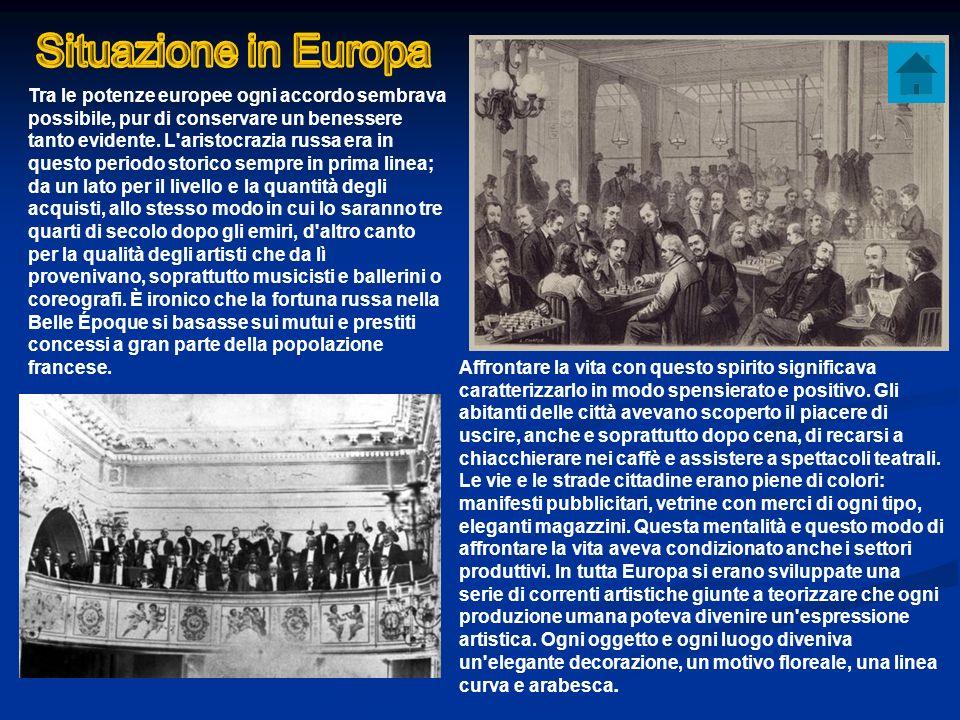 Tra le potenze europee ogni accordo sembrava possibile, pur di conservare un benessere tanto evidente. L'aristocrazia russa era in questo periodo stor