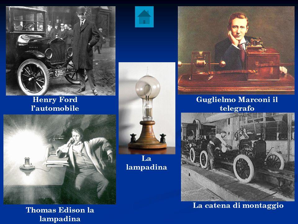 Henry Ford lautomobile Guglielmo Marconi il telegrafo Thomas Edison la lampadina La catena di montaggio La lampadina