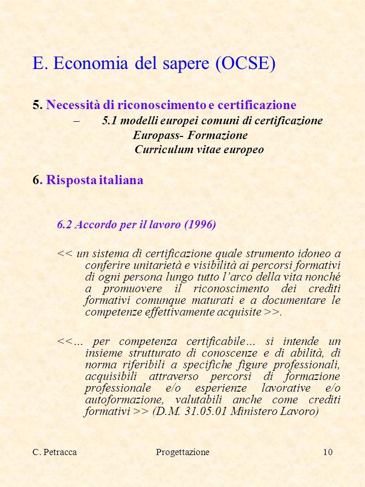 C. PetraccaProgettazione10 E. Economia del sapere (OCSE) 5. Necessità di riconoscimento e certificazione –5.1 modelli europei comuni di certificazione