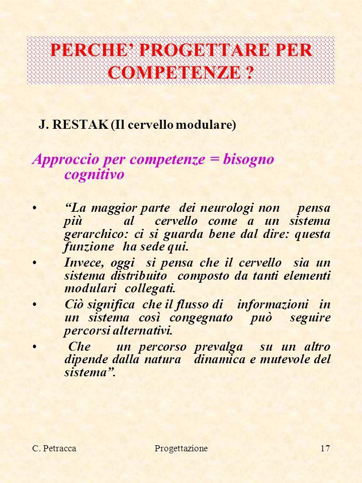 C. PetraccaProgettazione17 J. RESTAK (Il cervello modulare) Approccio per competenze = bisogno cognitivo La maggior parte dei neurologi non pensa più