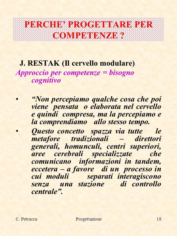 C. PetraccaProgettazione18 J. RESTAK (Il cervello modulare) Approccio per competenze = bisogno cognitivo Non percepiamo qualche cosa che poi viene pen
