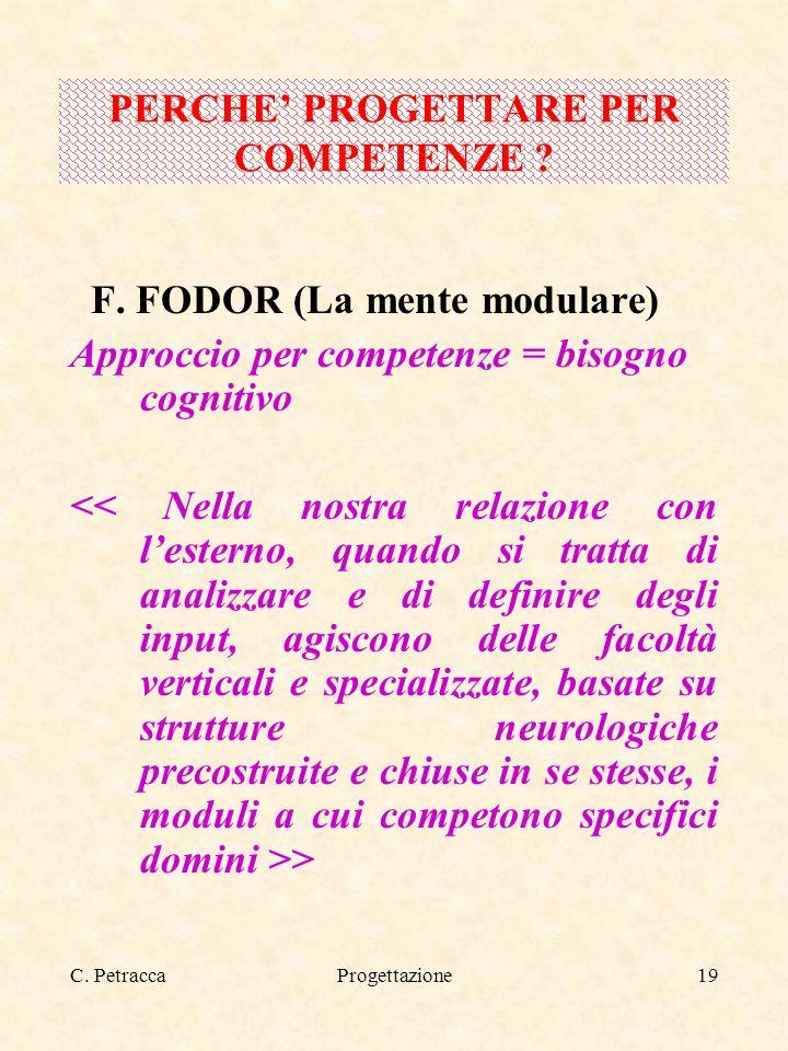 C. PetraccaProgettazione19 F. FODOR (La mente modulare) Approccio per competenze = bisogno cognitivo > PERCHE PROGETTARE PER COMPETENZE ?
