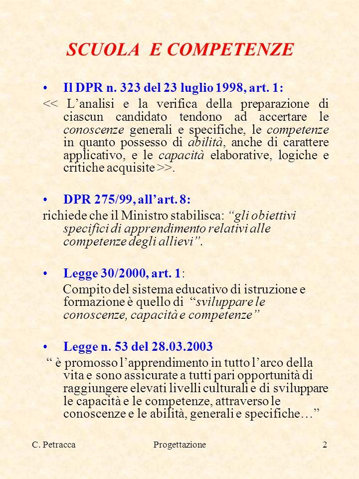 Progettazione2 SCUOLA E COMPETENZE Il DPR n. 323 del 23 luglio 1998, art. 1: >. DPR 275/99, allart. 8: richiede che il Ministro stabilisca: gli obiett