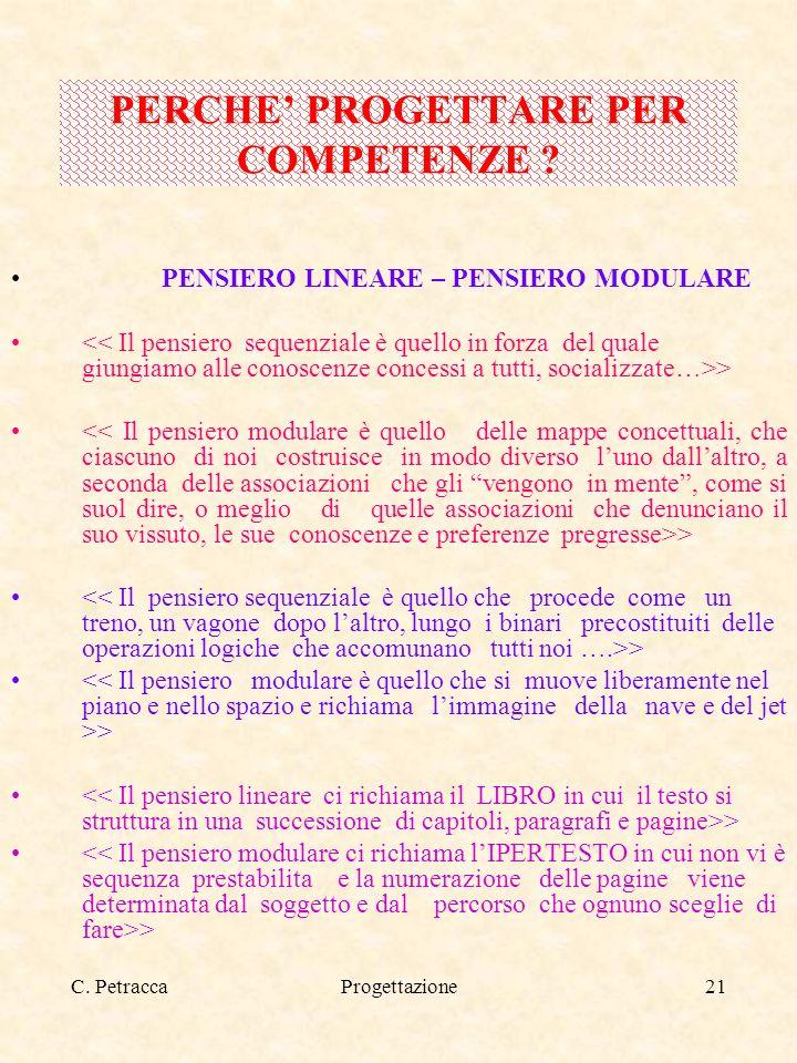 C. PetraccaProgettazione21 PENSIERO LINEARE – PENSIERO MODULARE > PERCHE PROGETTARE PER COMPETENZE ?