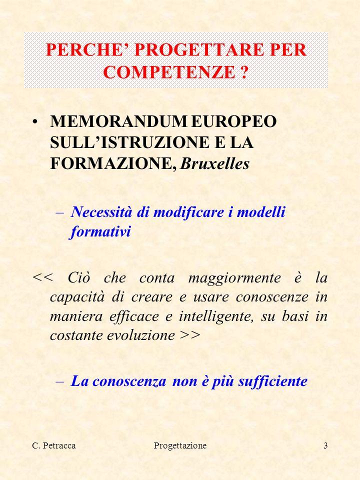 C. PetraccaProgettazione3 PERCHE PROGETTARE PER COMPETENZE ? MEMORANDUM EUROPEO SULLISTRUZIONE E LA FORMAZIONE, Bruxelles –Necessità di modificare i m