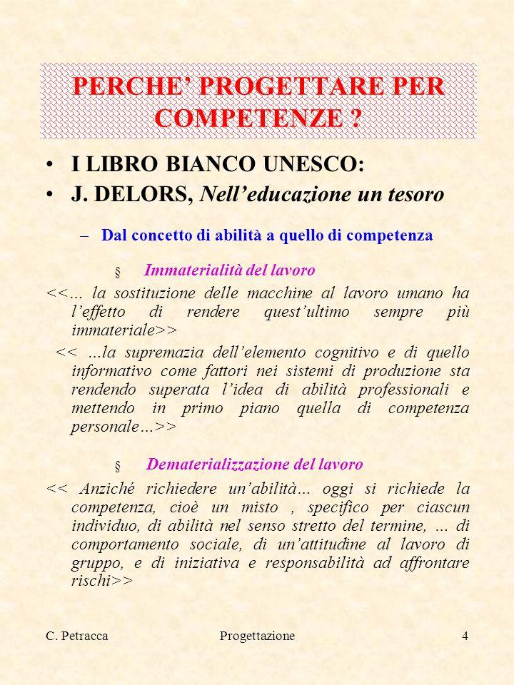 C. PetraccaProgettazione4 PERCHE PROGETTARE PER COMPETENZE ? I LIBRO BIANCO UNESCO: J. DELORS, Nelleducazione un tesoro –Dal concetto di abilità a que