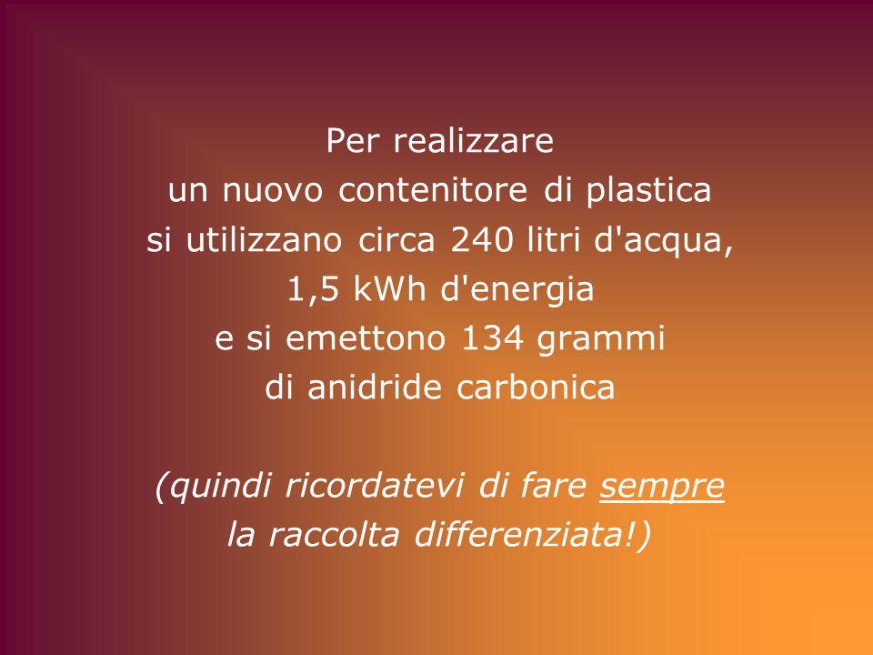 Per realizzare un nuovo contenitore di plastica si utilizzano circa 240 litri d acqua, 1,5 kWh d energia e si emettono 134 grammi di anidride carbonica (quindi ricordatevi di fare sempre la raccolta differenziata!)