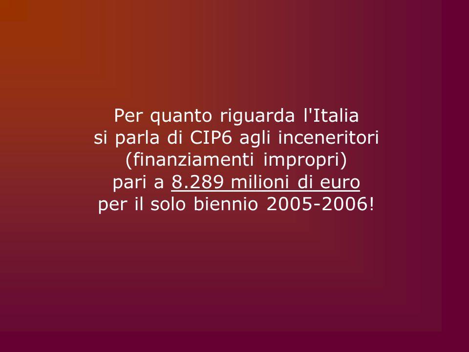Per quanto riguarda l Italia si parla di CIP6 agli inceneritori (finanziamenti impropri) pari a 8.289 milioni di euro per il solo biennio 2005-2006!