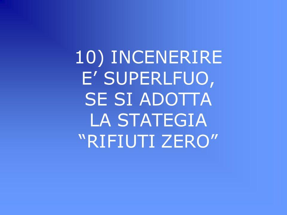 10) INCENERIRE E SUPERLFUO, SE SI ADOTTA LA STATEGIA RIFIUTI ZERO