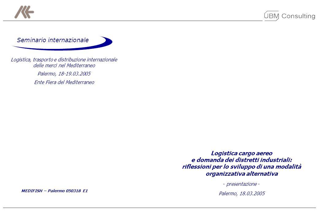 MEDIFISH – Palermo 050318 E1 20 Modello IPOTESI Dallanalisi è emersa anche lopportunità di un coordinamento unitario responsabile per la pianificazione ed organizzazione delle diverse fasi dellattività logistica: una società dedicata Il modello ha considerato lipotesi che le aziende appartenenti ad alcuni distretti target decidano di coordinare le proprie attività logistiche attraverso una entità dedicata alla gestione integrata della logistica (ENTITÀ PER LA LOGISTICA) compito della nuova società sarebbe quello di ottimizzare linterfaccia operativa tra DOMANDA (produttori) ed OFFERTA (servizi logistici di trasporto, spedizione, handling, vettoriamento aereo), attraverso la centralizzazione dei flussi delle merci da spedire in capo alla società dovrebbe essere trasferito anche il compito di promuovere il CA tra le PMI appartenenti al distretto, facendo leva sulla propria specializzazione per aggregare volumi di logistica sempre più consistenti, e sulla possibilità di offrire servizi a condizioni che risultino competitive anche per gli attori di dimensione più ridotta