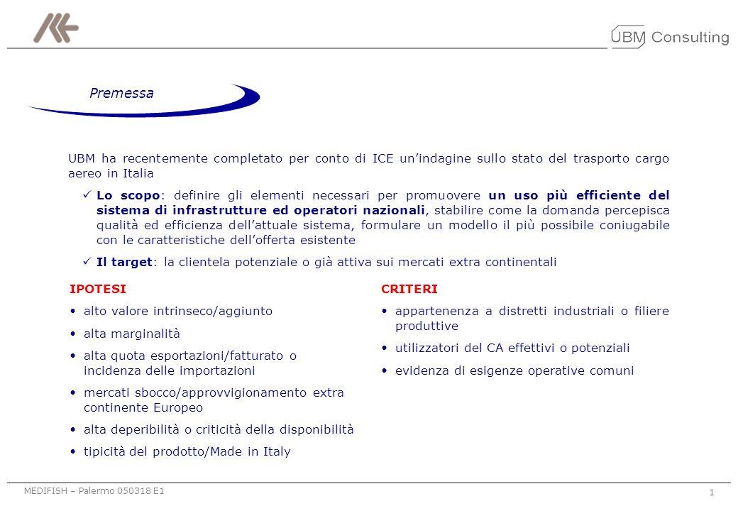 MEDIFISH – Palermo 050318 E1 Logistica cargo aereo e domanda dei distretti industriali: riflessioni per lo sviluppo di una modalità organizzativa alte