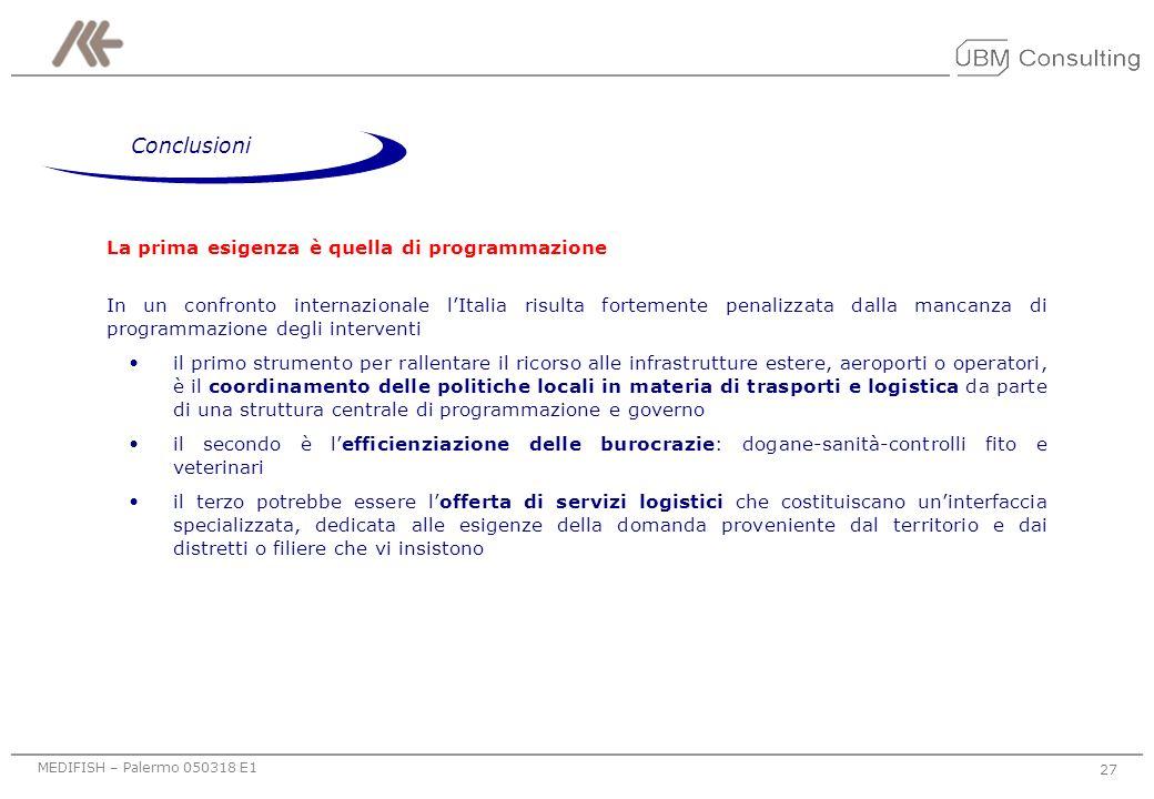 MEDIFISH – Palermo 050318 E1 26 Fonte:elaborazione UBM sulla base delle interviste realizzate Intermedio Meno indicato Più indicato Promuovere lestern