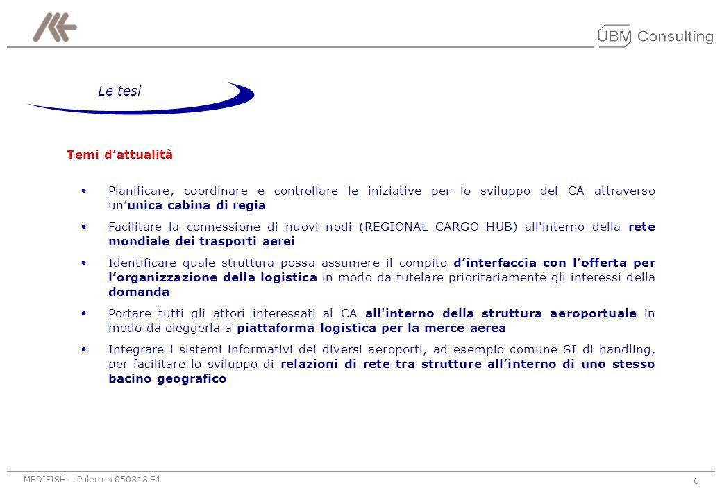 MEDIFISH – Palermo 050318 E1 6 Temi dattualità Pianificare, coordinare e controllare le iniziative per lo sviluppo del CA attraverso ununica cabina di regia Facilitare la connessione di nuovi nodi (REGIONAL CARGO HUB) all interno della rete mondiale dei trasporti aerei Identificare quale struttura possa assumere il compito dinterfaccia con lofferta per lorganizzazione della logistica in modo da tutelare prioritariamente gli interessi della domanda Portare tutti gli attori interessati al CA all interno della struttura aeroportuale in modo da eleggerla a piattaforma logistica per la merce aerea Integrare i sistemi informativi dei diversi aeroporti, ad esempio comune SI di handling, per facilitare lo sviluppo di relazioni di rete tra strutture allinterno di uno stesso bacino geografico Le tesi