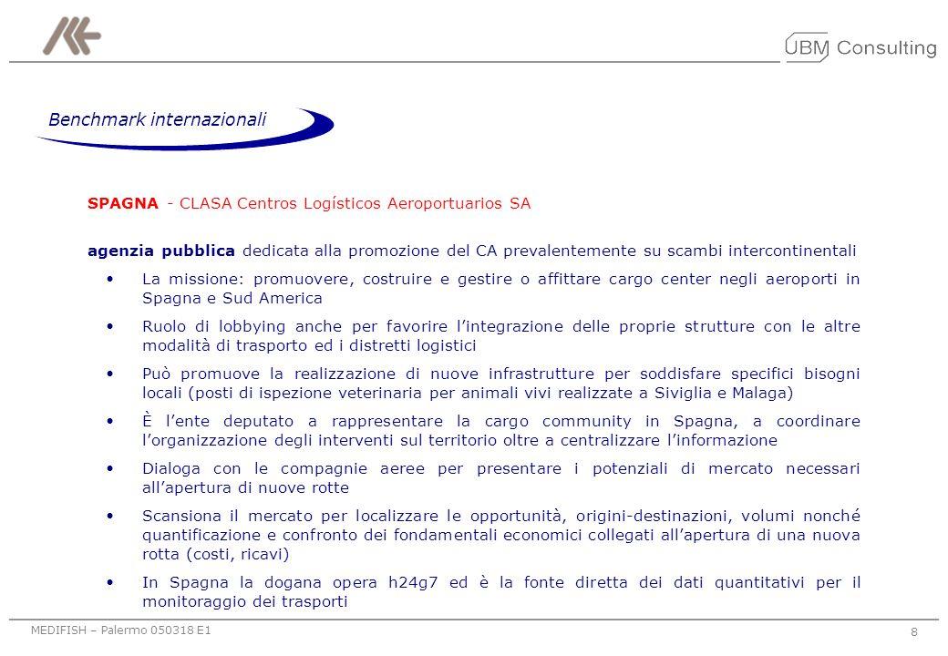 MEDIFISH – Palermo 050318 E1 8 SPAGNA - CLASA Centros Logísticos Aeroportuarios SA agenzia pubblica dedicata alla promozione del CA prevalentemente su scambi intercontinentali La missione: promuovere, costruire e gestire o affittare cargo center negli aeroporti in Spagna e Sud America Ruolo di lobbying anche per favorire lintegrazione delle proprie strutture con le altre modalità di trasporto ed i distretti logistici Può promuove la realizzazione di nuove infrastrutture per soddisfare specifici bisogni locali (posti di ispezione veterinaria per animali vivi realizzate a Siviglia e Malaga) È lente deputato a rappresentare la cargo community in Spagna, a coordinare lorganizzazione degli interventi sul territorio oltre a centralizzare linformazione Dialoga con le compagnie aeree per presentare i potenziali di mercato necessari allapertura di nuove rotte Scansiona il mercato per localizzare le opportunità, origini-destinazioni, volumi nonché quantificazione e confronto dei fondamentali economici collegati allapertura di una nuova rotta (costi, ricavi) In Spagna la dogana opera h24g7 ed è la fonte diretta dei dati quantitativi per il monitoraggio dei trasporti Benchmark internazionali