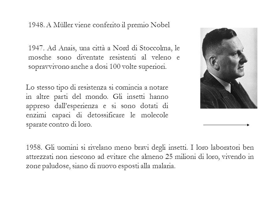 1948. A Müller viene conferito il premio Nobel 1958. Gli uomini si rivelano meno bravi degli insetti. I loro laboratori ben attrezzati non riescono ad