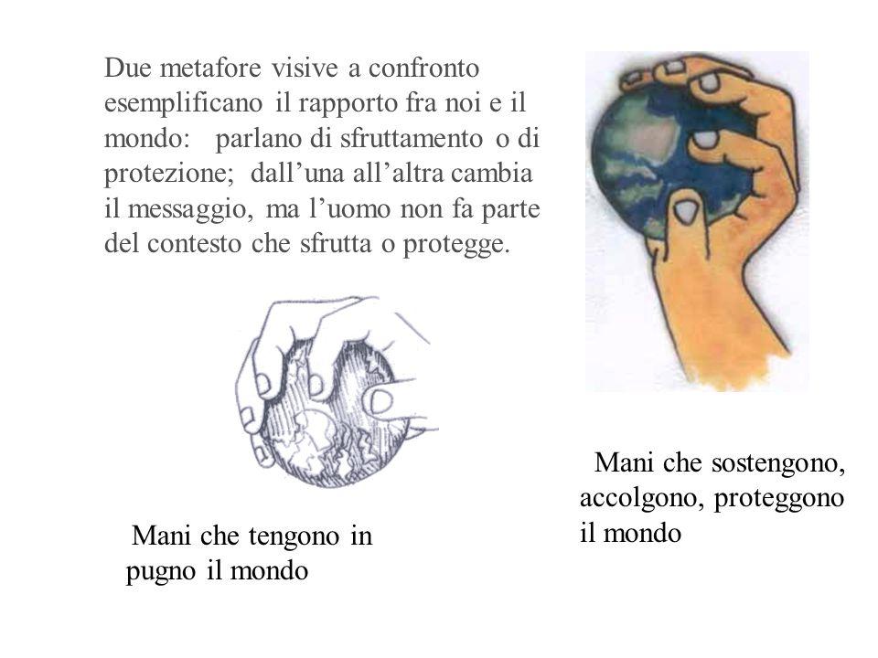 Mani che sostengono, accolgono, proteggono il mondo Due metafore visive a confronto esemplificano il rapporto fra noi e il mondo: parlano di sfruttame