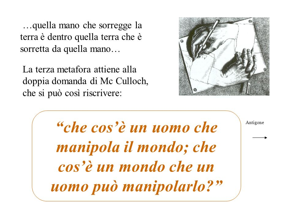 …quella mano che sorregge la terra è dentro quella terra che è sorretta da quella mano… La terza metafora attiene alla doppia domanda di Mc Culloch, c