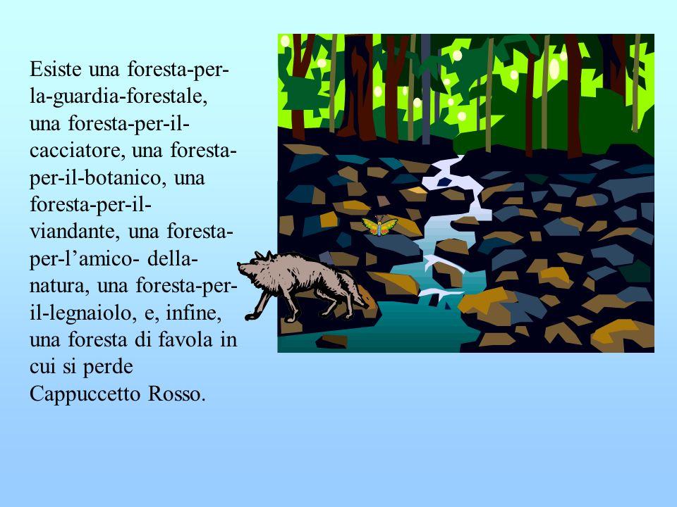 Esiste una foresta-per- la-guardia-forestale, una foresta-per-il- cacciatore, una foresta- per-il-botanico, una foresta-per-il- viandante, una foresta- per-lamico- della- natura, una foresta-per- il-legnaiolo, e, infine, una foresta di favola in cui si perde Cappuccetto Rosso.