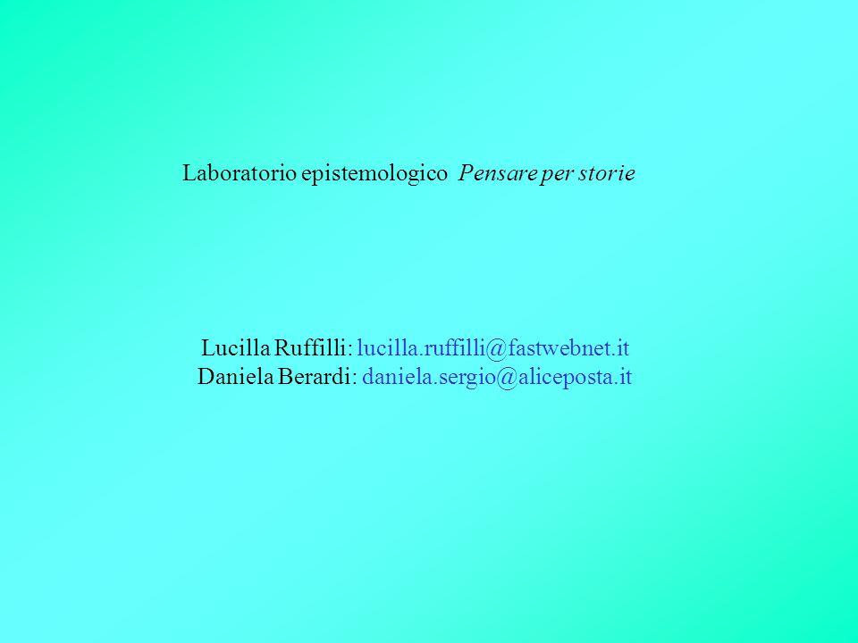 Laboratorio epistemologico Pensare per storie Lucilla Ruffilli: lucilla.ruffilli@fastwebnet.it Daniela Berardi: daniela.sergio@aliceposta.it