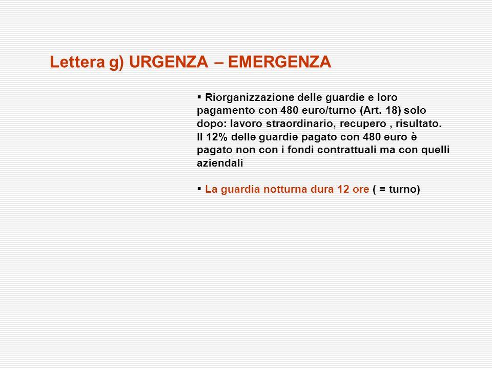 Lettera g) URGENZA – EMERGENZA Riorganizzazione delle guardie e loro pagamento con 480 euro/turno (Art. 18) solo dopo: lavoro straordinario, recupero,