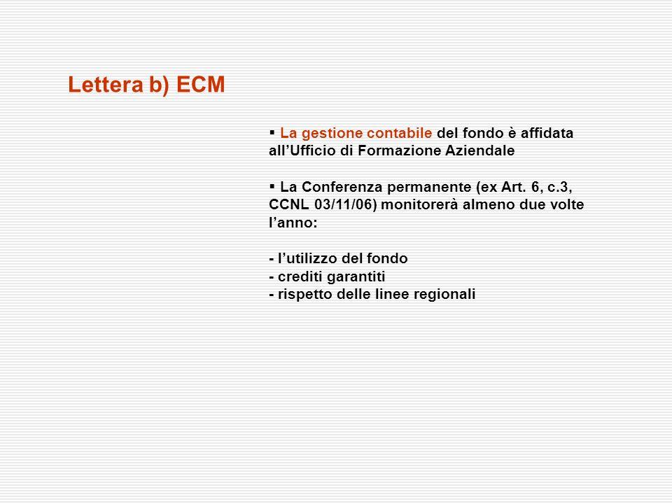Lettera b) ECM La gestione contabile del fondo è affidata allUfficio di Formazione Aziendale La Conferenza permanente (ex Art. 6, c.3, CCNL 03/11/06)