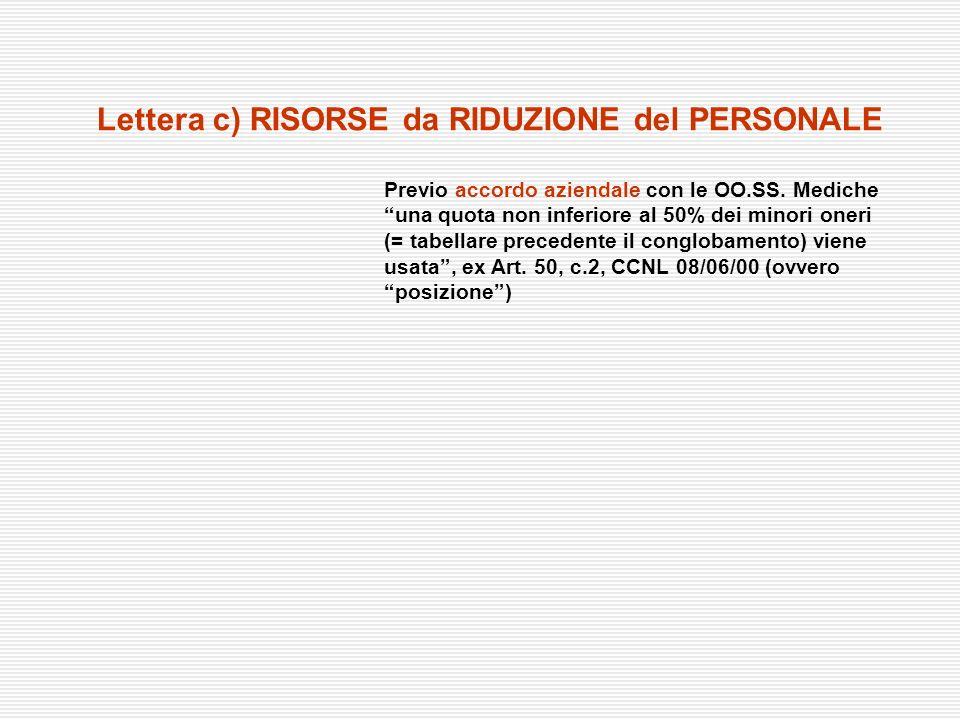 Lettera c) RISORSE da RIDUZIONE del PERSONALE Previo accordo aziendale con le OO.SS. Mediche una quota non inferiore al 50% dei minori oneri (= tabell