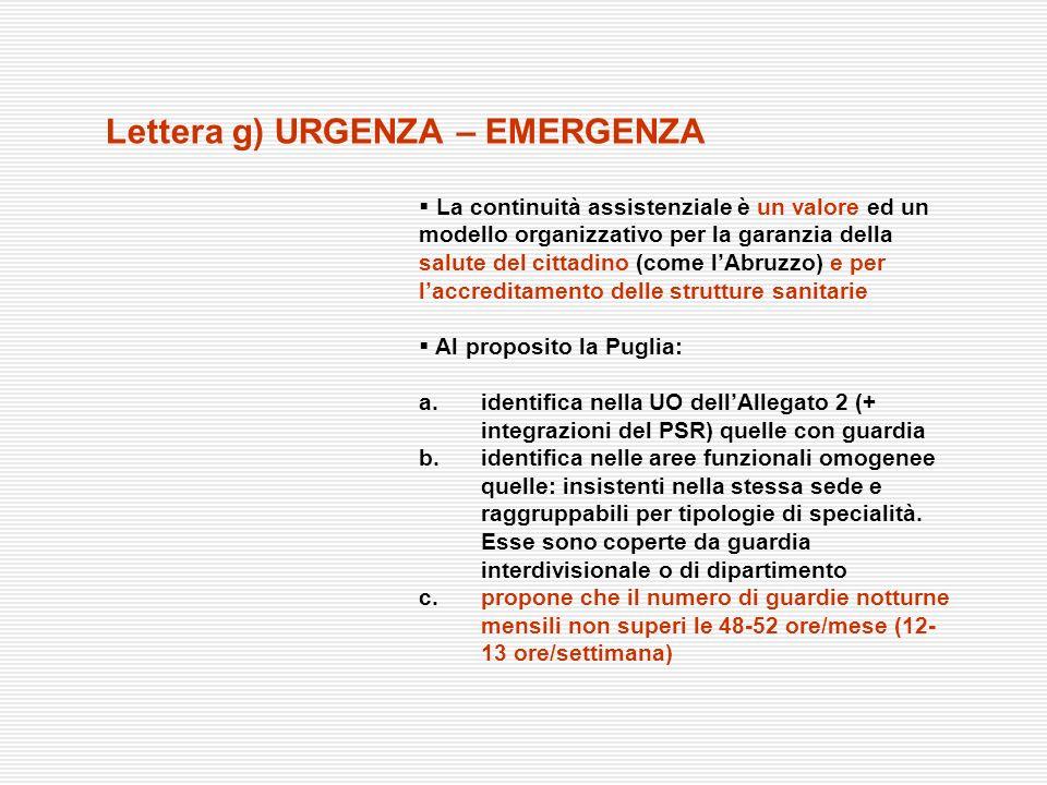 Lettera g) URGENZA – EMERGENZA La continuità assistenziale è un valore ed un modello organizzativo per la garanzia della salute del cittadino (come lA
