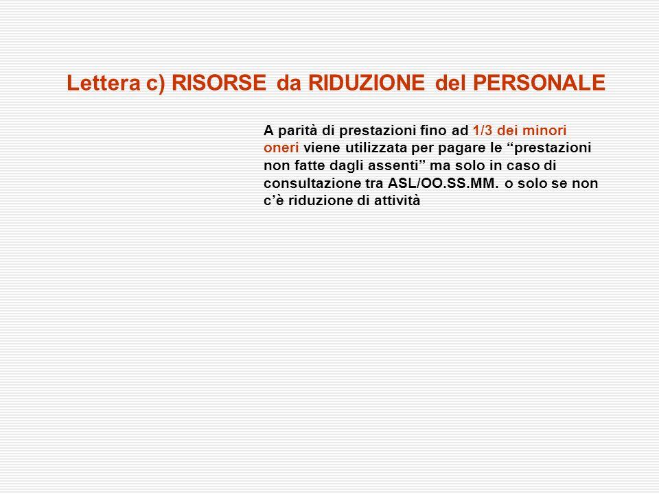 Lettera c) RISORSE da RIDUZIONE del PERSONALE A parità di prestazioni fino ad 1/3 dei minori oneri viene utilizzata per pagare le prestazioni non fatt