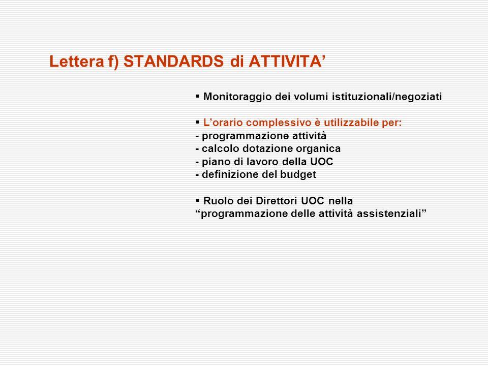 Lettera f) STANDARDS di ATTIVITA Monitoraggio dei volumi istituzionali/negoziati Lorario complessivo è utilizzabile per: - programmazione attività - c