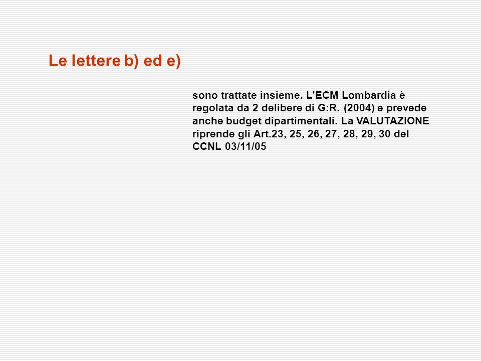 Le lettere b) ed e) sono trattate insieme. LECM Lombardia è regolata da 2 delibere di G:R. (2004) e prevede anche budget dipartimentali. La VALUTAZION