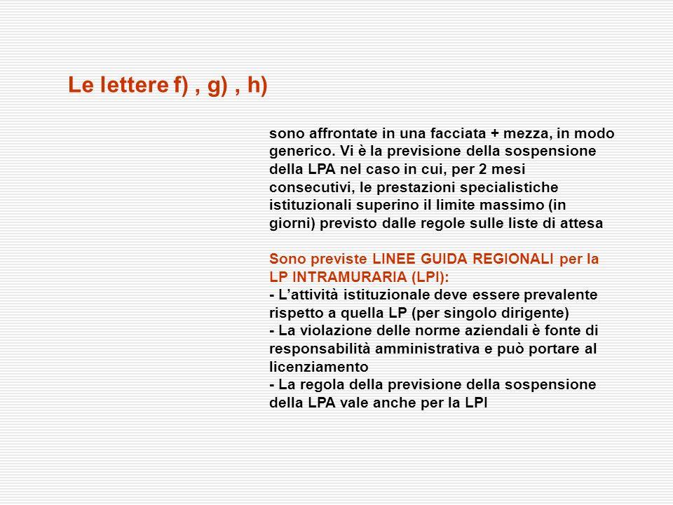 Le lettere f), g), h) sono affrontate in una facciata + mezza, in modo generico. Vi è la previsione della sospensione della LPA nel caso in cui, per 2