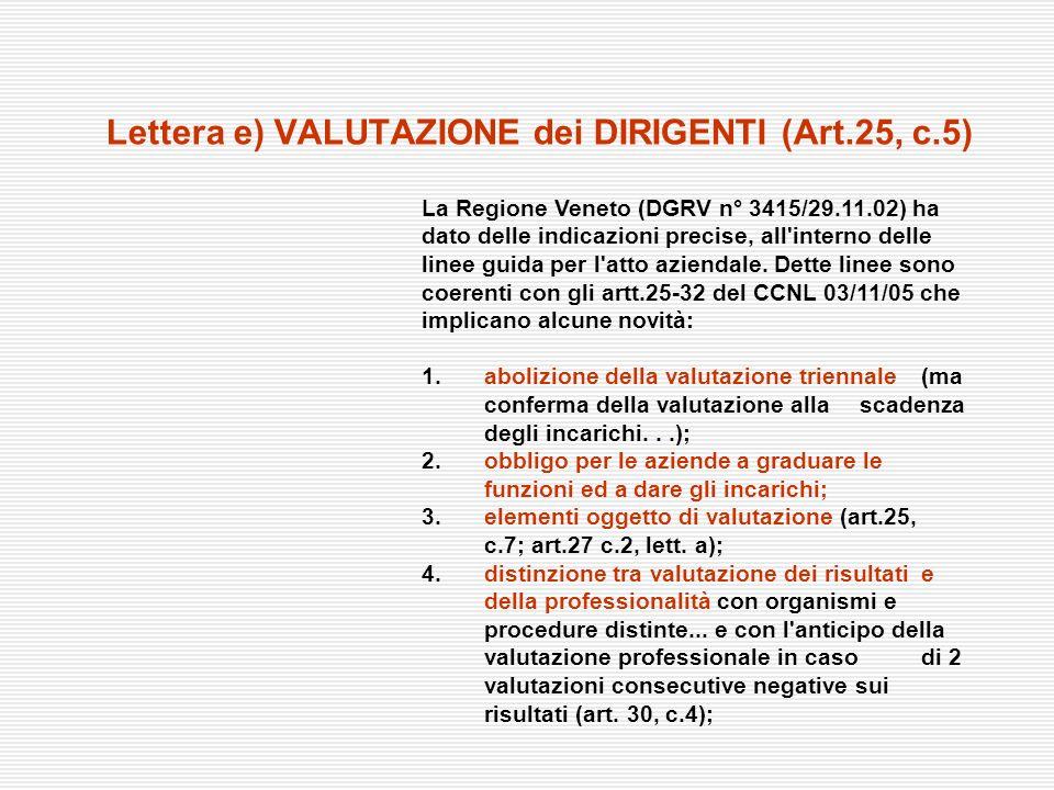 Lettera e) VALUTAZIONE dei DIRIGENTI (Art.25, c.5) La Regione Veneto (DGRV n° 3415/29.11.02) ha dato delle indicazioni precise, all'interno delle line