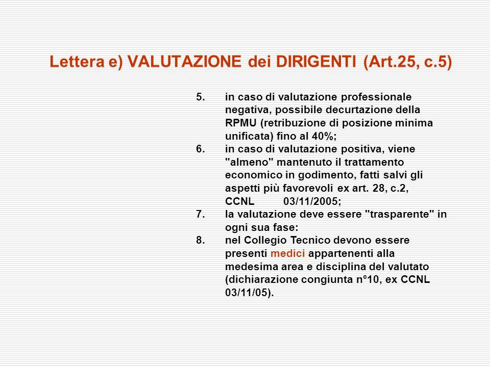 Lettera e) VALUTAZIONE dei DIRIGENTI (Art.25, c.5) 5. in caso di valutazione professionale negativa, possibile decurtazione della RPMU (retribuzione d