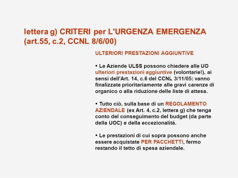 ULTERIORI PRESTAZIONI AGGIUNTIVE Le Aziende ULSS possono chiedere alle UO ulteriori prestazioni aggiuntive (volontarie!), ai sensi dell'Art. 14, c.6 d