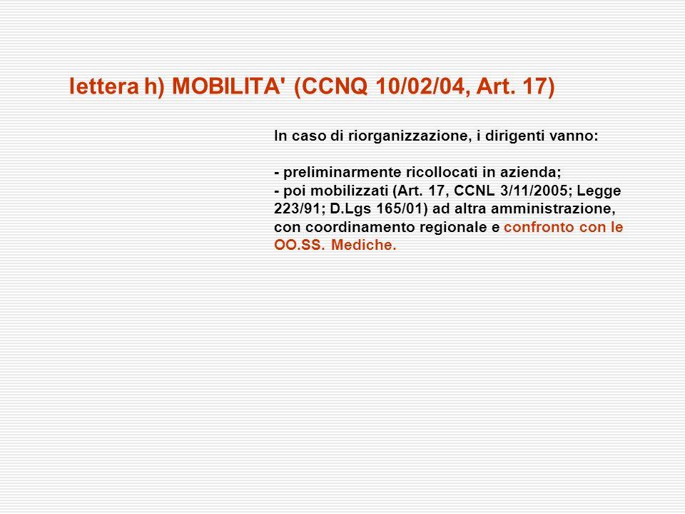 lettera h) MOBILITA' (CCNQ 10/02/04, Art. 17) In caso di riorganizzazione, i dirigenti vanno: - preliminarmente ricollocati in azienda; - poi mobilizz