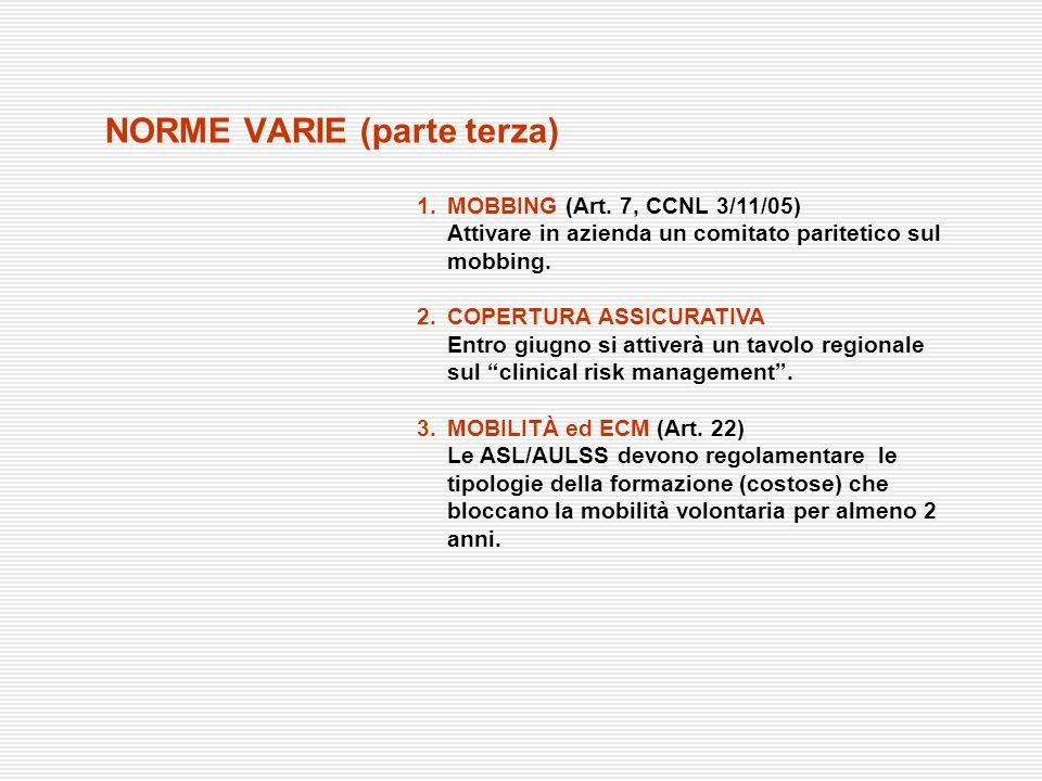 NORME VARIE (parte terza) 1.MOBBING (Art. 7, CCNL 3/11/05) Attivare in azienda un comitato paritetico sul mobbing. 2.COPERTURA ASSICURATIVA Entro giug